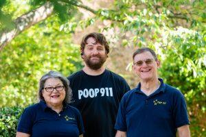 Charlotte Pooper Scooper Service POOP 911 team smiling and happy.